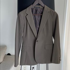 Theory jacket pants suit brown taupe size p 0
